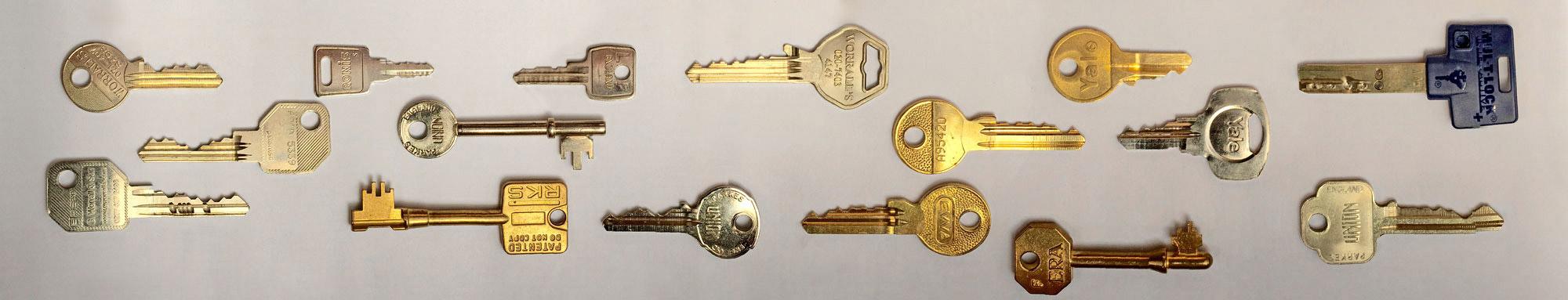 Keys for office door locks, safes, cabinets, desks, etc.