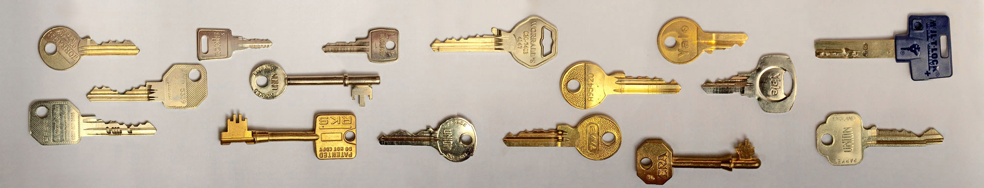 Keys for office door locks, safes, cabinets, desks, etc.